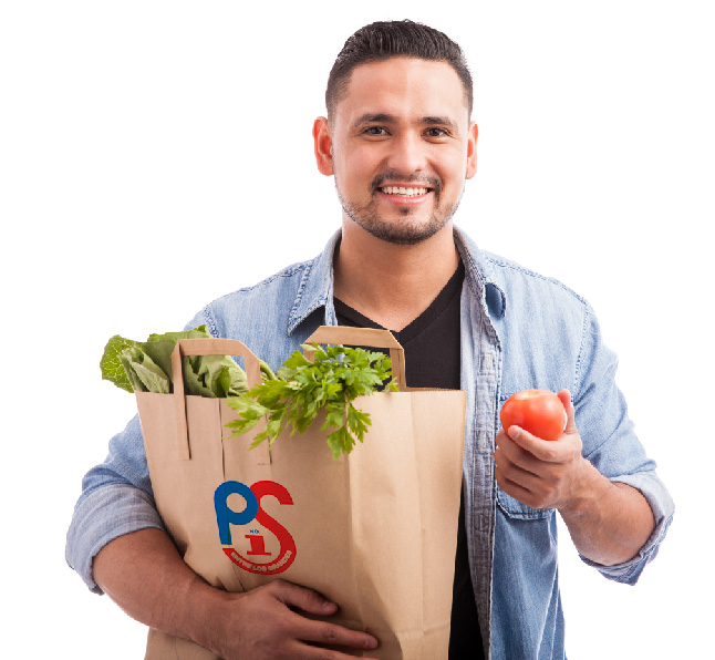 Happy Shopper with Grocery Bag