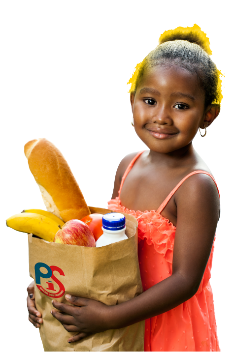 Little Girl holding Groceries